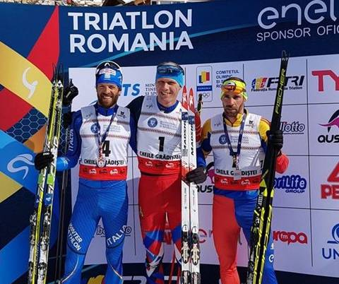 Podio maschile Campionati Europei Winter Triathlon (foto fitri)